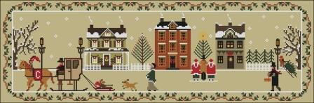 Twin Peak Primitives - Christmas on Chestnut Road-Twin Peak Primitives - Christmas on Chestnut Road, country Christmas, snow, holiday, horse  carriage, sampler, cross stitch