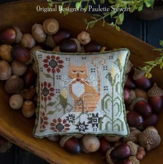 Plum Street Samplers - Clementine-Plum Street Samplers - Clementine, tabby cat, kitty, fall, pumpkin, cross stitch, pin cushion