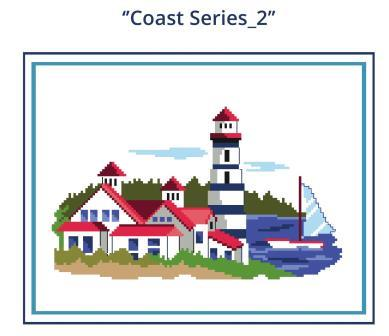 Heart of Turquoise - Coast Series 2-Heart of Turquoise - Coast Series 2, lighthouse, ocean, sailboat, cross stitch