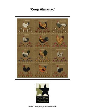 Twin Peak Primitives - Coop Almanac-Twin Peak Primitives - Coop Almanac, chickens, farm animals, chicken coop, monthly chicken, cross stitch