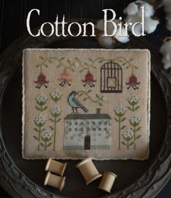 Plum Street Samplers - Cotton Bird-Plum Street Samplers - Cotton Bird, farmhouse, bird cage, birds. country , cross stitch
