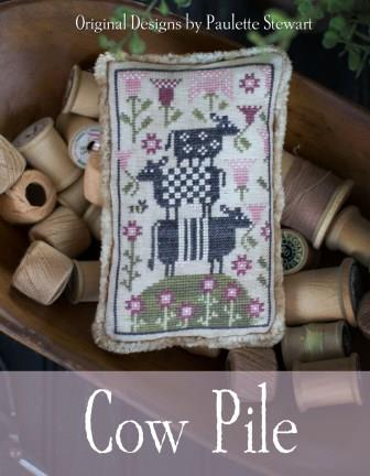 Plum Street Samplers - Cow Pile-Plum Street Samplers - Cow Pile, bovine, farm animals, flowers, cross stitch