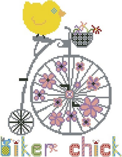 Cross-Stitch-Art - Biker Chick - Cross Stitch Chart-Cross-Stitch-Art - Biker Chick - Cross Stitch Chart