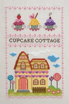 Cottage Garden Samplings - Cupcake Cottage - Cross Stitch Pattern-Cottage Garden Samplings, Cupcake Cottage, cupcakes, lollipops, cottage, house, candy, cherry, frosting, children,  Cross Stitch Pattern