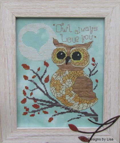Designs by Lisa - Owl Always Love You-Designs by Lisa - Owl Always Love You, owl, birds, romance, cross stitch