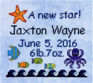 DebBee�s�Designs - A�New�Star-DebBeesDesigns - ANewStar, birth announcement, ornament, starfish, octopus, beach, cross stitch