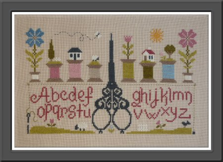 Jardin Prive - Ciseaux & Bobines-Jardin Prive - Ciseaux  Bobines, Scissors, bobbins, threads, cross stitch