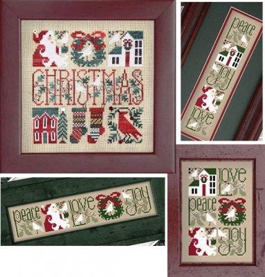 The Drawn Thread - Little Bits of Christmas-The Drawn Thread - Little Bits of Christmas, Jesus, Santa Claus, wreath, joys, stockings, cross stitch