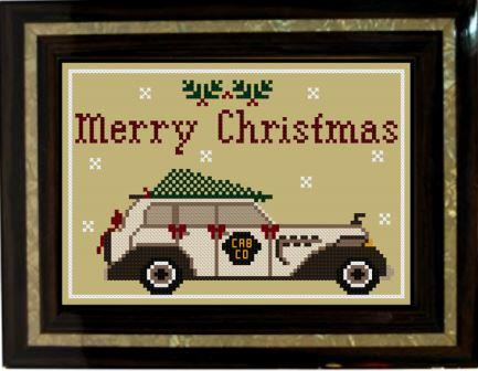 Twin Peak Primitives - Driving Home for Christmas-Twin Peak Primitives - Driving Home for Christmas, Christmas tree, snow, family, cross stitch