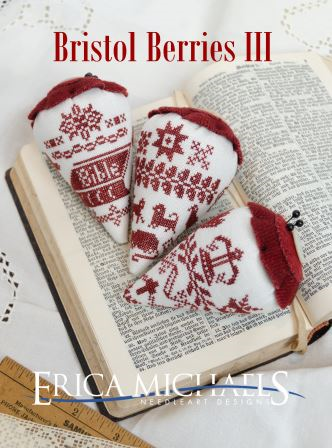 Erica Michaels Designs - Bristol Berries III-Erica Michaels Designs - Bristol Berries III, redwork, monochromatic, strawberries, cross stitch, expo