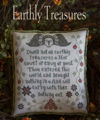 Plum Street Samplers - Earthly Treasures-Plum Street Samplers - Earthly Treasures, biblical verse, pout, angels, contentment, cross stitch