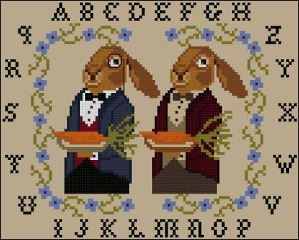 Twin Peak Primitives - Easter Feast-Twin Peak Primitives - Easter Feast, rabbits, bunnies, waiters, Spring, cross stitch