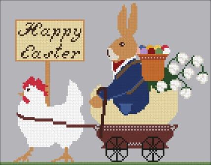 Twin Peak Primitives - Easter Parade-Twin Peak Primitives - Easter Parade, Easter, Christ, Risen, bunny, Easter Eggs, cross stitch