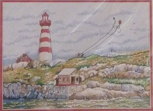 Elsa Williams - Shoreline Kites - Counted Cross Stitch Kit-Elsa Williams, Shoreline Kites,lighthouse, ocean, beach, windy, children, seashore, kite, Counted Cross Stitch Kit