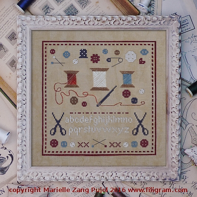 Filigram - Reels and Buttons-Filigram - Reels and Buttons, spools, thread, needles, pins, sewing, buttons, cross stitch