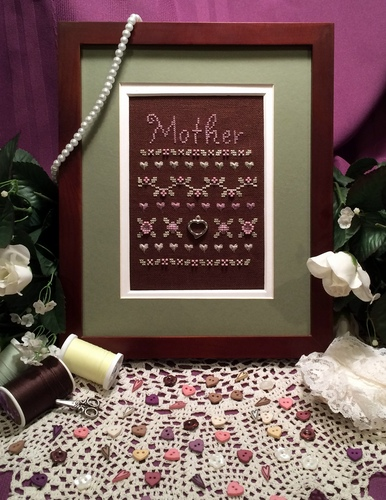 Flowers 2 Flowers - Mother's Sampler - Cross Stitch Pattern-Flowers 2 Flowers - Mothers Sampler - Mothers Day, love, heart,  Cross Stitch Pattern
