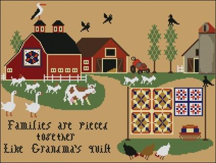 Twin Peak Primitives - Families are Pieced Together Like Grandma's Quilt-Twin Peak Primitives - Families are PiecedTogether Like Grandmas Quilt, love, family, parents, children, cross stitch