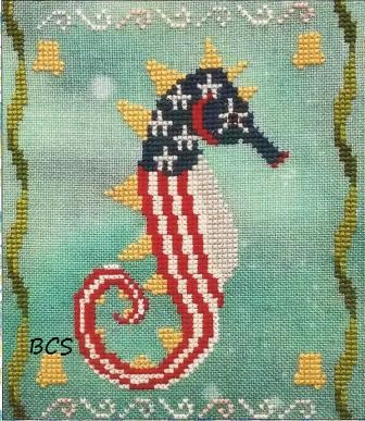 Fireside Originals - A Year of Seahorses 07 - July-Fireside Originals - A Year of Seahorses 07 - July, patriotic, red,white  blue, fish, cross stitch