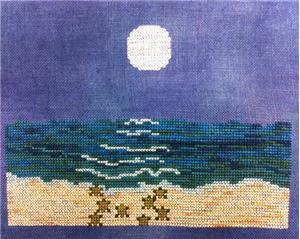Fireside Originals - Summer Moonlight-Fireside Originals - Summer Moonlight, nighttime, ocean, sea, cross stitch