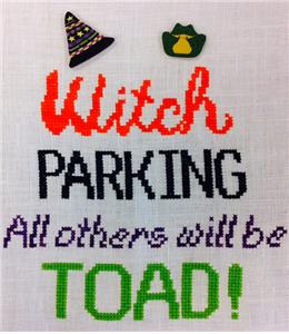 Fireside Originals - Witch Parking-Fireside Originals - Witch Parking, Halloween, witch, driving, cross stitch