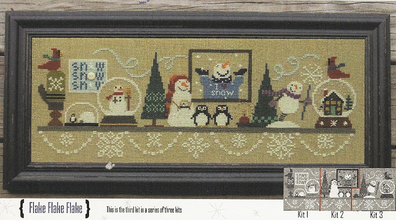 Bent Creek - Wintery Snowglobe Mantle - Part 3 of 3 Flake Flake Flake-Bent Creek - Wintery Snowglobe Mantle -Part 3 of 3 Flake Flake Flake - Cross Stitch Kit