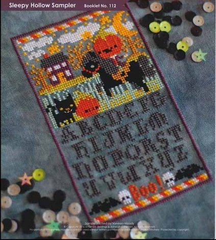The Frosted Pumpkin Stitchery - Sleepy Hollow Sampler-The Frosted Pumpkin Stitchery - Sleepy Hollow Sampler, Halloween, haunted house, sampler, headless horseman, horse, pumpkin, cross stitch