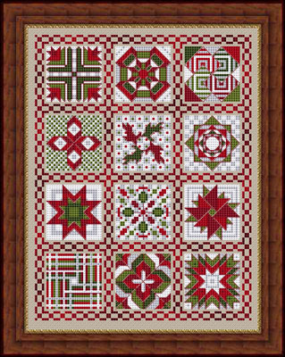 Whispered by the Wind - Friendship Quilt V for This and That - Cross Stitch Pattern-Whispered by the Wind, Friendship Quilt V for This and That, Christmas quilt, stars, flowers, red and green, blanket, wall hanging, Cross Stitch Pattern