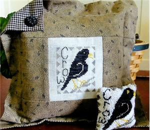 From The Heart - Needleart by Wendy - The Crow - Cross Stitch Pattern-From The Heart - Needleart by Wendy, The Crow, fall, Halloween, birds, pillow, Cross Stitch Pattern