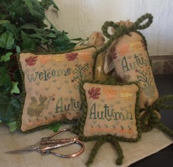 From The Heart - Needleart by Wendy - Welcome Autumn Accessories-From The Heart - Needleart by Wendy - Welcome Autumn, fall, leaves, squirrel, pincushion, cross stitch