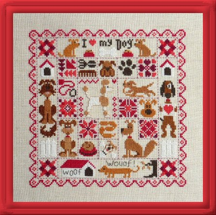Jardin Prive - Patchwork aux Chiens-Jardin Prive - Patchwork aux Chiens, PATCHWORK OF DOGS, puppy love, Valentines Day, dogs, canine, cross stitch, quilt,