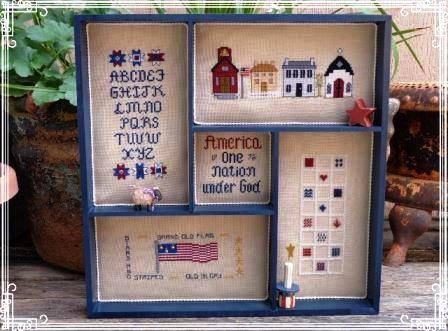 Faithwurks Designs - Americana Shadowbox Mystery Series - Part 5 America-Faithwurks Designs - Americana Shadowbox - Part 5 America, USA, series, sampler, cross stitch