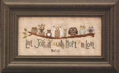 The Trilogy - Family Branch - Cross Stitch Pattern-The Trilogy,Family, Branch,Cross,Stitch, Pattern, owls, birds, trees, ancestry,live, joyfully, with, hope, in, love,