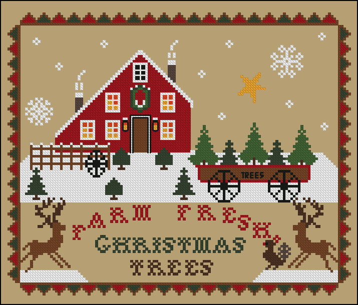 Twin Peak Primitives - Farm Fresh Christmas Trees-Twin Peak Primitives - Farm Fresh Christmas Trees,  Christmas, barn, snow, trees, cross stitch