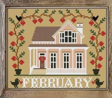 Twin Peak Primitives - I'll Be Home Mystery Series - Part 7 - February Cottage-Twin Peak Primitives - Ill Be Home Mystery Series - Part 7 - February Cottage, Valentines Day, pink house, hearts, love, cross stitch