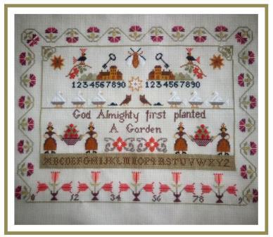 Twin Peak Primitives - First Garden Sampler-Twin Peak Primitives - First Garden Sampler, alphabets, flowers, God, cross stitch