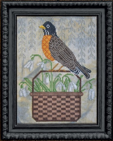 Cottage Garden Samplings - A Time For All Seasons Part 3 - First Signs of Spring-Cottage Garden Samplings - A Time For All Seasons Part 3 - First Signs of Spring, robin, bird, basket, flowers, cross stitch