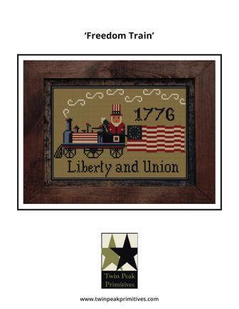 Twin Peak Primitives - Freedom Train-Twin Peak Primitives - Freedom Train, USA, patriotic, train, Uncle Sam, 1776, cross stitch