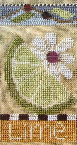 SamSarah Design Studio - Farmer's Market Fruit Stand Banner - Chart 2 of 6 - Fresh Lime Cross Stitch Pattern-SamSarah Design Studio Farmers Market Fruit Stand Banner - Chart 2 of 6 - Fresh Lime Cross Stitch Pattern