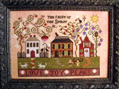 Plum Street Samplers - Fruit of the Spirit-Plum Street Samplers, Fruit of the Spirit, Love, Joy, Peace, Bible verse, Galatians 522, houses, home, family sun, trees, children, dogs, strawberry, birdhouse, neighbors, Cross Stitch Pattern