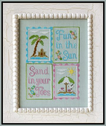 Country Cottage Needleworks - Fun in the Sun-Country Cottage Needleworks,  Fun in the Sun, beach, sand, ocean, summer, palm trees, beach umbrella, Cross Stitch Chart
