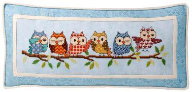 Glendon Place - Outrageous Owls-Glendon Place, Outrageous Owls, animals, birds, colorful owls on a branch, Cross Stitch Pattern