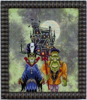 Glendon Place - Frank's Family Portrait-Glendon Place, Franks Family Portrait, Frankenstien, Halloween, haunted house, bats, scary, trick or treat, Cross Stitch Pattern