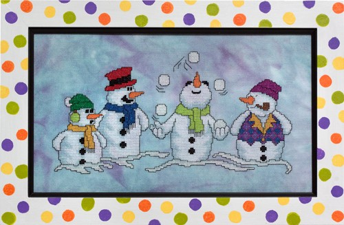 Glendon Place - Snow Pals-Glendon Place - Snow Pals, snowman, playing in the snow, winter, cross stitch,