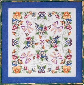 Glendon Place - Violaceae-Glendon Place - Violaceae, poseys, flowers, butterflies, cross stitch