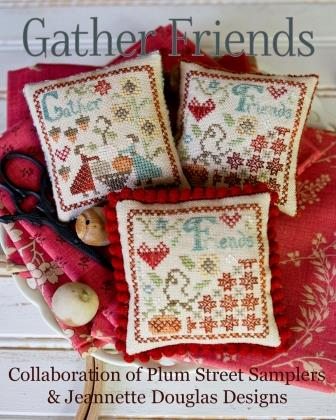 Jeannette Douglas Designs & Plum Street Samplers  - Gather Friends - Limited Edition-Jeannette Douglas Designs - Gather Friends, pin cushion, friends, pumpkins, primitive, cross stitch