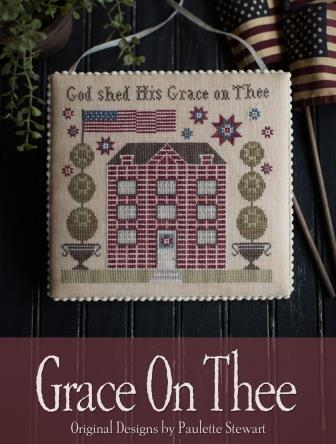 Plum Street Samplers - Grace on Thee-Plum Street Samplers - Grace on Thee, inspirational, verse, prayers, house, cross stitch