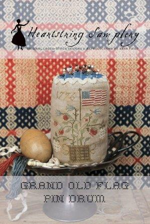 Heartstring Samplery - Grand Old Flag Pin Drum-Heartstring Samplery - Grand Old Flag Pin Drum, USA, America, patriotic, historic, American Flag, cross stitch