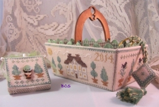 Mani di Donna - Green Days Sewing Basket-Mani di Donna, Green Days Sewing Basket, house, garden, basket, needle book, scissor fob, Cross Stitch Pattern