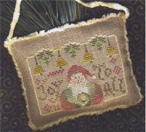 Homespun Elegance - 2012 Santa Ornament - Joy To All - Cross Stitch Pattern-Homespun Elegance,Santa Ornament2012, Joy To All, Santa Claus, Christmas bells, Christmas tree,  - Cross Stitch Pattern