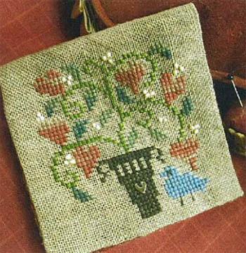 Homespun Elegance - Bits & Pieces - Heart Posies Needlecase - Cross Stitch Chart-Homespun Elegance,Bits,Pieces,Heart, Posies,Needlecase,Cross, Stitch, Chart, Blue bird, flowers,gold heart,